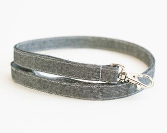 Black Chambray Skinny Fabric Lanyard - Thin Lanyard - 1/2 Inch Wide Key Necklace - 15.5-19.5 Inch Long Key Strap - Teacher Lanyard