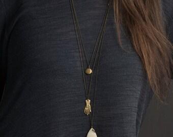 Jasper Pendant Necklace PAINTED DESERT STONE Necklace / Custom Chain, Long Necklace / Boho Jewelry Simple Layered Necklace / Bohemian Fringe