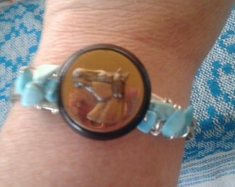 HORSE LOVER BRACELET~ Repurposed Vintage Button