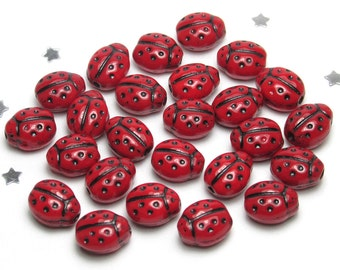Cute Ladybug Czech Bead 9mm - Opaque Deep Red Glass, 25 beads - Garden Bug Insect Nature Lady Bug