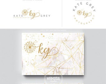 dandelion initlas 1  brush gold initials businesscards  simple modern feminine branding- logo Identity artist makeup wedding photographer