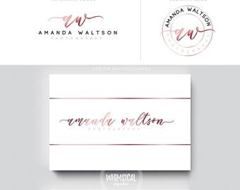 siganture logo 5 brush rose gold initials businesscards  simple modern feminine branding logo monogram artist makeup wedding photographer