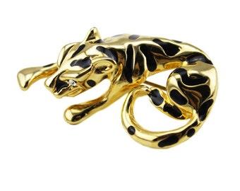 Rhinestone Tiger Brooch, Gold Tiger Brooch, Gold and Black Enamel Tiger Brooch, Animal Brooch