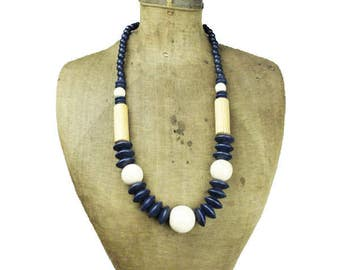 Large Wood Bead Necklace, Chunky Blue Wood Bead Necklace, Chunky Wooden Bead Necklace, Long Wood Bead Necklace