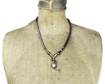 Hematite Heart Necklace, Black Heart Pendant Necklace, Hematite Bead Necklace, Hematite Necklace, Black Bead Necklace