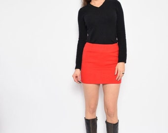 Vintage 90's Red Mini Skirt - Size Extra Small