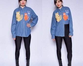 Vintage 90's Cat Denim Shirt / Embellished Denim Shirt / Blue Denim Button Shirt - Size Large/L
