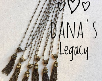 Pyrite Brass Tassel Necklace