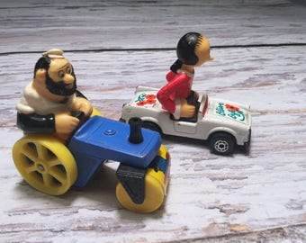 Bluto's Road Roller and Olive Oil's Convertible . Vintage Matchbox Car . Vintage Popeye Toy .