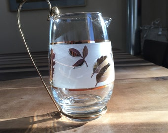 Libbey Glass 22K Gold Frosted Glass Autumn Leaf Pitcher - Water, Juice, Milk, Negronis!