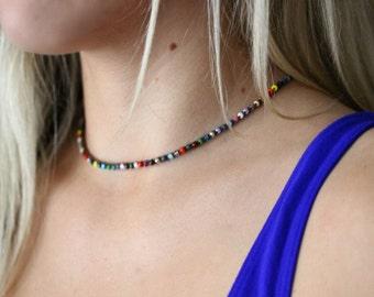 Colorful Beaded Crochet Necklace, Choker, Minimalist, Bohemian, Seed Bead Necklace, Crochet Jewelry, Double Wrap Bracelet