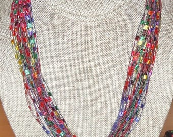 Gorgeous Trellis Scarf Necklace in Red and Jewel Tones (SKU 103)