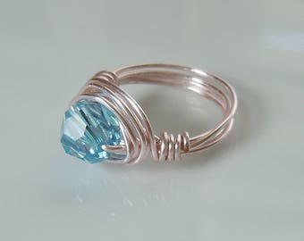 Wire Wrapped Ring with Aquamarine Swarovski Crystal 8mm Bead