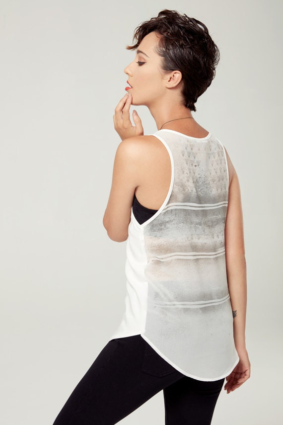 SOLSTICE D'ÉTÉ - minimalist top with sheer back - see-through back, camisole, cami - white with deconstructed sikscreen edgy and grunge look