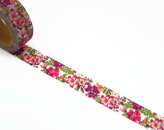 Pink Floral Washi Tape - Pink Flower Decorative Masking Tape 10m x 15mm