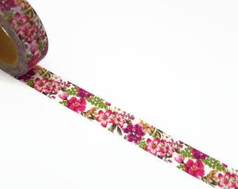 Pink Floral Washi Tape - Pink Flower Decorative Masking Tape 10m x 15mm