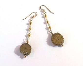 Gold Drusy & Pyrite Earrings