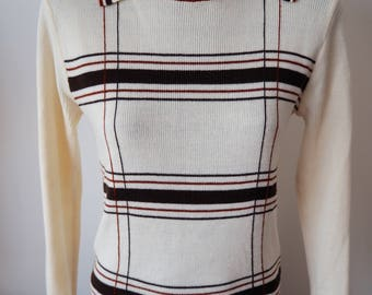 70's knit Sugar Daddy collared top S/M