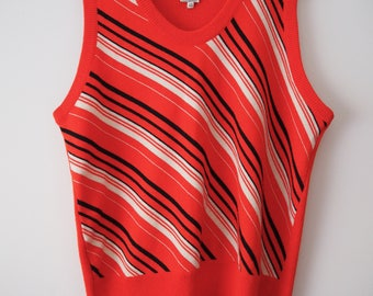 Red 60s 70s Italian striped knit vest top M
