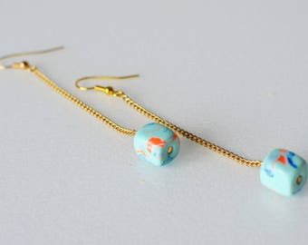 Birthday gift/affordable gift/blue earring/long earring/dangle earring/boho earring/boho fashion/fashion earring/summer fashion/neon earring