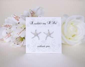 Beach Wedding  | Starfish Earrings | Bridesmaid Gifts | Bridesmaid Earrings | Personalized Gift | Bridal Earrings