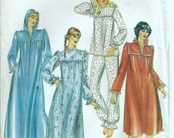 Butterick 3914 Size 18 Yoke Nightgown, Pajamas & Front Zip Robe Pattern OOP