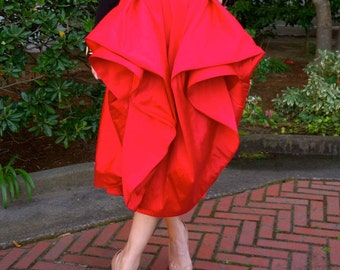 Mel Skirt - Ultra Versatile Red Midi skirt made from Taffeta with Pleats Full Circle with Pockets