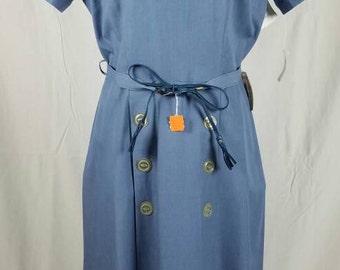 50s Light Blue Day Dress w Original Belt New With Tags