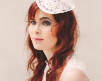 Bridal top hat lace silk flower white bohemian headdress