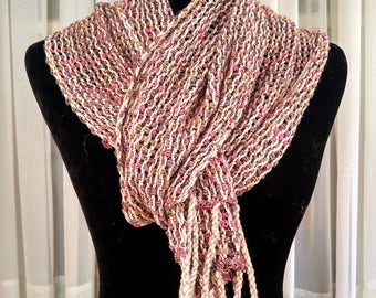 Hand-woven light-weight lacy mesh scarf   beige  pink tan leno lace scarf   loose woven spring color scarf   lacy lightweight easter colors