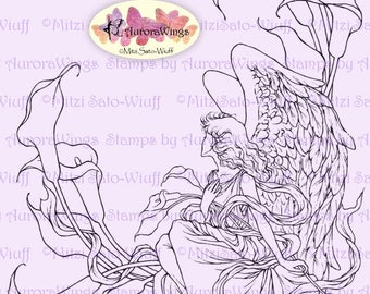 Digital Stamp Instant Download - Angel of Sympathy - Sympathy Angel with Calla Lilies - digistamp - Fantasy Line Art for Cards & Crafts