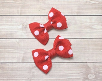Small Red and White Polka Dot Bows, Small Red Bows, Minnie Bows, Small Baby Bows, Baby Hair Clips, Red Clips, Mini Bows, Red Pigtail Bows