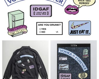 Hungry Words Food and Alcohol Drinks Embroidered Sticker Patch Set Munchies Collection