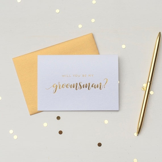 Will You Be My Groomsman gold foil Best Man proposal box Groomsman proposal wedding party card gold foil groomsman invitation groom gift