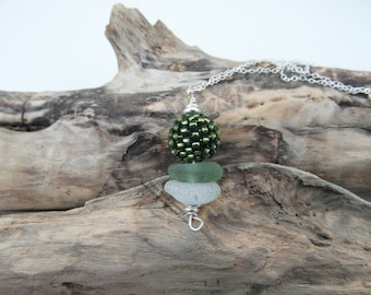 Cornish Sea Glass Stack & Woven Bead Necklace ~ Sterling Silver ~ Cornwall