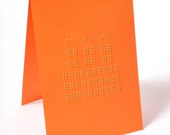 Braille Birthday Card   Birthday Cake   Orange