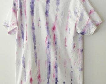 Shibori Tee Shirt, tie dye tee shirt, Dip Dye, Graphic tee shirt, Grunge, hand painted, retro, hippie, pink, Rocker, purple, Gift under 15