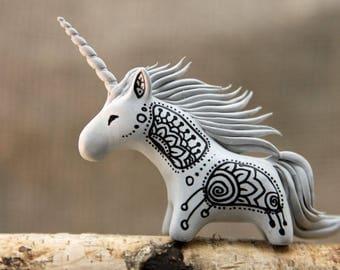 MADE TO ORDER Zen Doodle Unicorn Horse Totem Figurine Sculpture, Animal magic spirit amulet