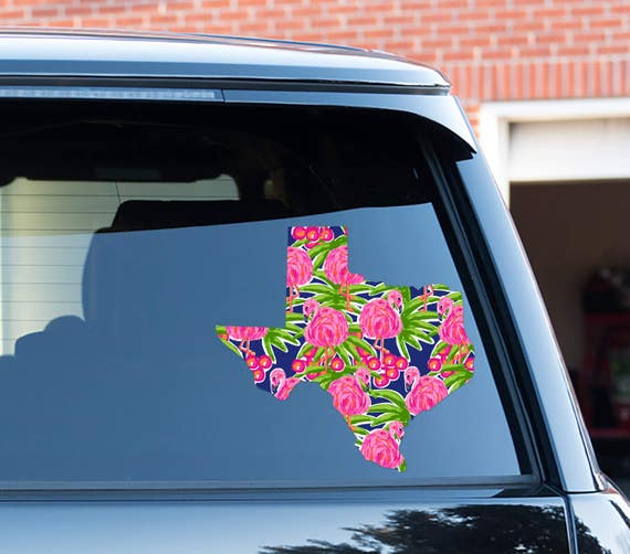 Home State Texas Car Decal Lilly Inspired Car Stickers Car Decor Cute Car Accessories Car Decals Vinyl Decal For Yeti State Texas Flamingo
