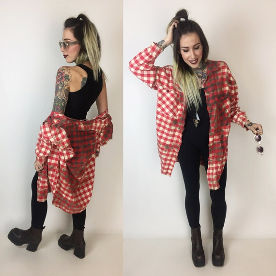 90's Tie Dye Red Bleached Flannel Button Up Size XL  - Red Plaid Grunge Boyfriend Flannel Shirt  - WomensRustic Red White Plus Size Cotton