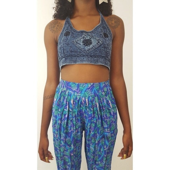 90's Halter Crop Top XS Small - Boho Hippie Style Cropped Tank - Open Back 1990s Grunge Sleeveless Festival Bra Top Backless Midriff Shirt