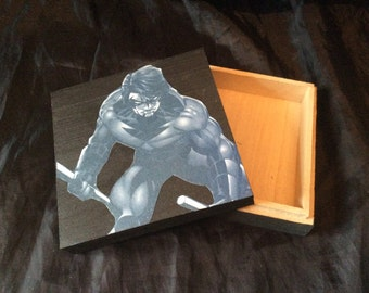 Nightwing hand decorated wooden box trinket