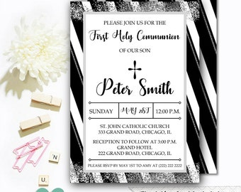 Communion Invitations - First Communion Invitation - Communion Boy Invite - Boy First Communion Invitation
