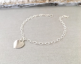 Sterling Silver Heart Bracelet, Personalized Bracelet, Wedding Bracelet, Rose Gold Heart Bracelet,  Heart Bracelet, Wedding Jewelry