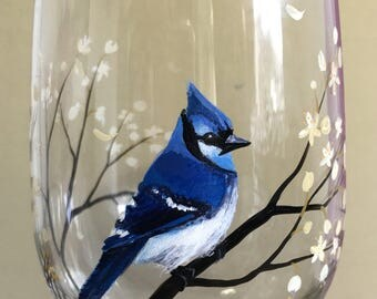 BlueJay Hand Painted Wine Glass Collectible Stylish Bird Spring Glassware Flowering Tree Branches Unique Mother's Day Gift Idea Easter Art