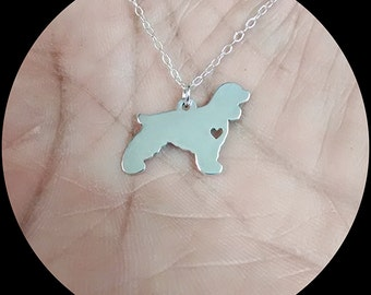 Cocker Spaniel Necklace - Engraving Pendant - Sterling Silver Jewelry - Gold Jewelry - Rose Gold Jewelry - Personalized Pet Dog Jewelry