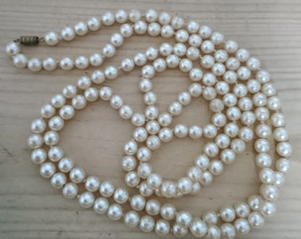 Long vintage glass Pearl necklace