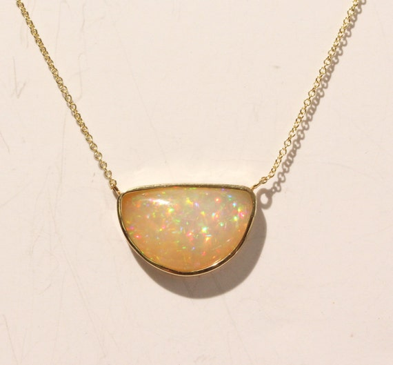 Natural Opal Pendant - 14k Yellow Gold - Natural Gemstone Jewelry - Split Chain Necklace #1437 Watch Video!