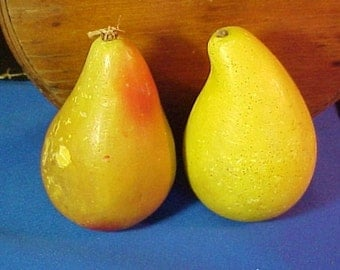 Antique Italian Marble Stone, Alabaster Fruit, Hand Painted, Pear, Pears