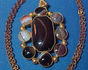 Antique Victorian Necklace,  Chalcedony Agate Stone Gilt Metal Necklace